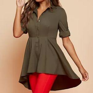 New York & Company Poplin Peplum- Hem Tunic shirt